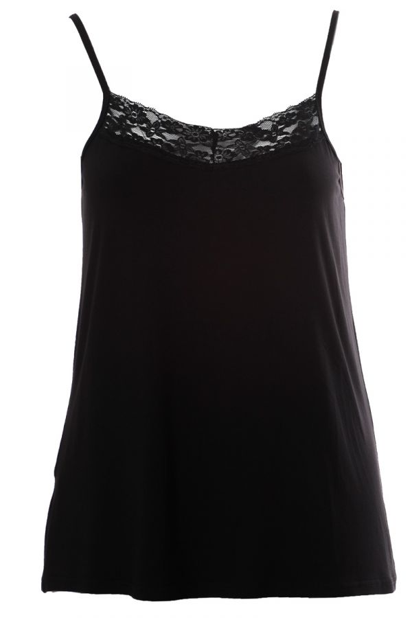Light-weight cami top with lace detail in black colour