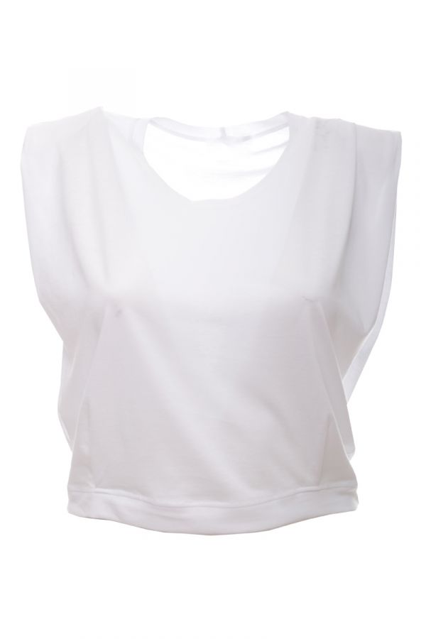 Sleeveless crop top with padded shoulders in white colour