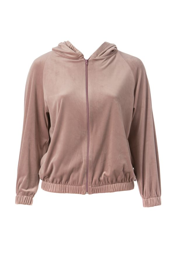 Velour tracksuit top in pink colour