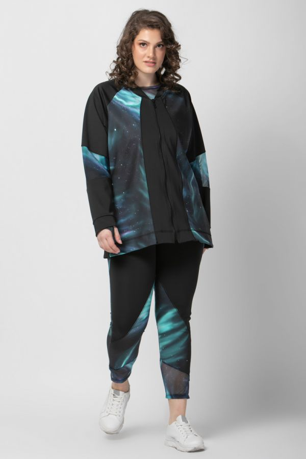 Aurora sports jacket with mesh details in black colour