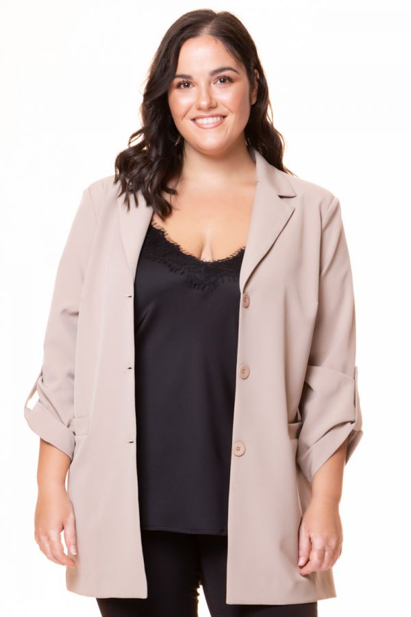 Long blazer with roll sleeves in beige colour