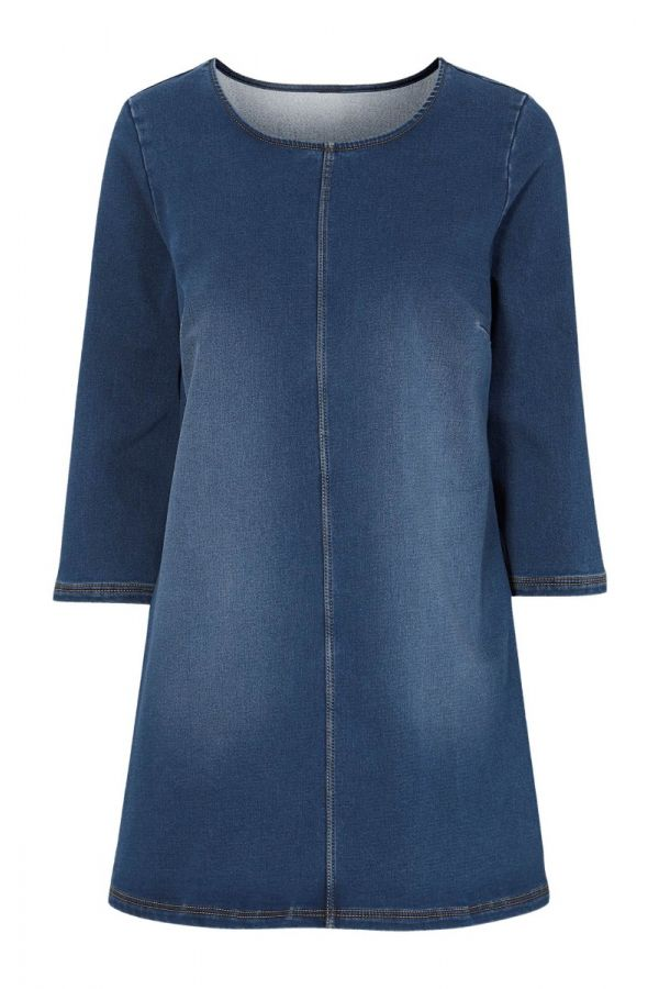 Denim long top with 3/4 sleeves in denim blue colour