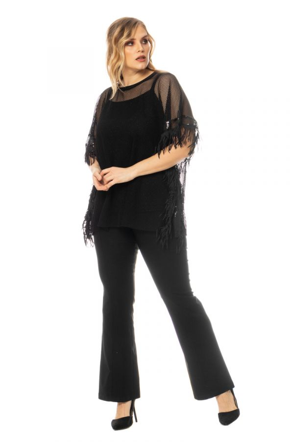 Double fishnet embellished blouse with fringing detail in black colour