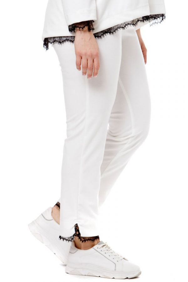 Trousers with lace details in ecru colour