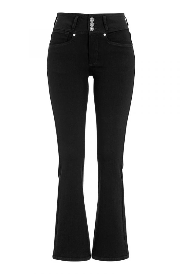 Elastic bootcut jeans in black colour
