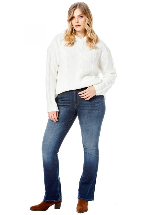 Elastic bootcut jeans in blue colour