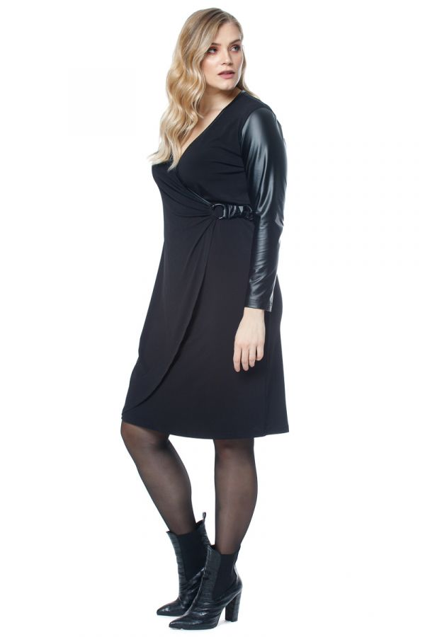 Mini wrap dress with leather-like sleeves in black colour
