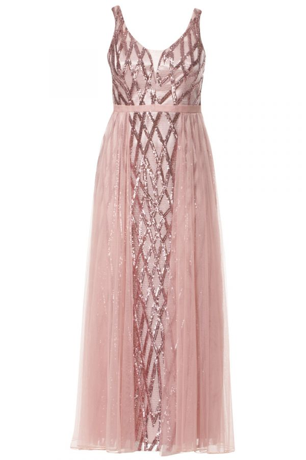 Embellished maxi dress with tulle overskirt in powder pink colour