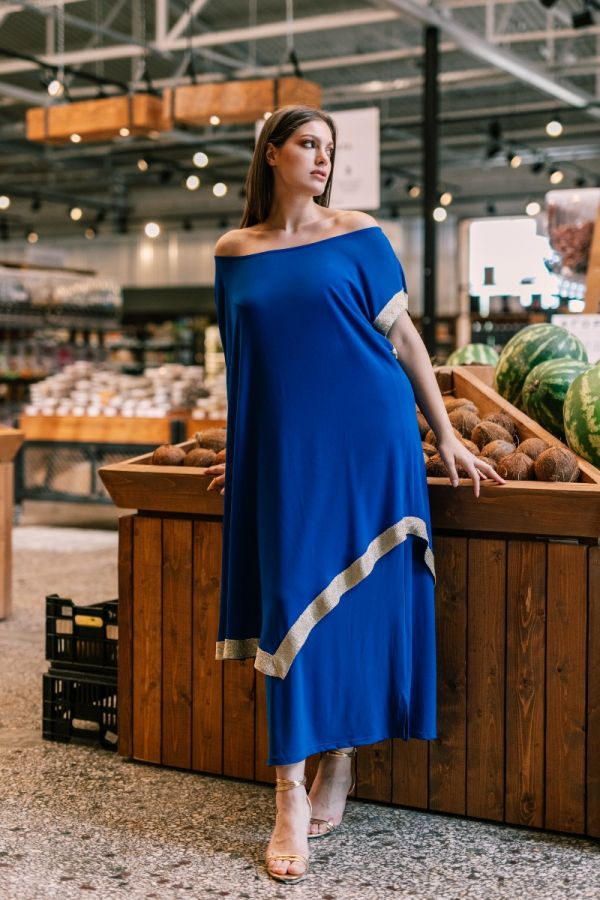 Dress with removable tunic and gold details in royal blue colour