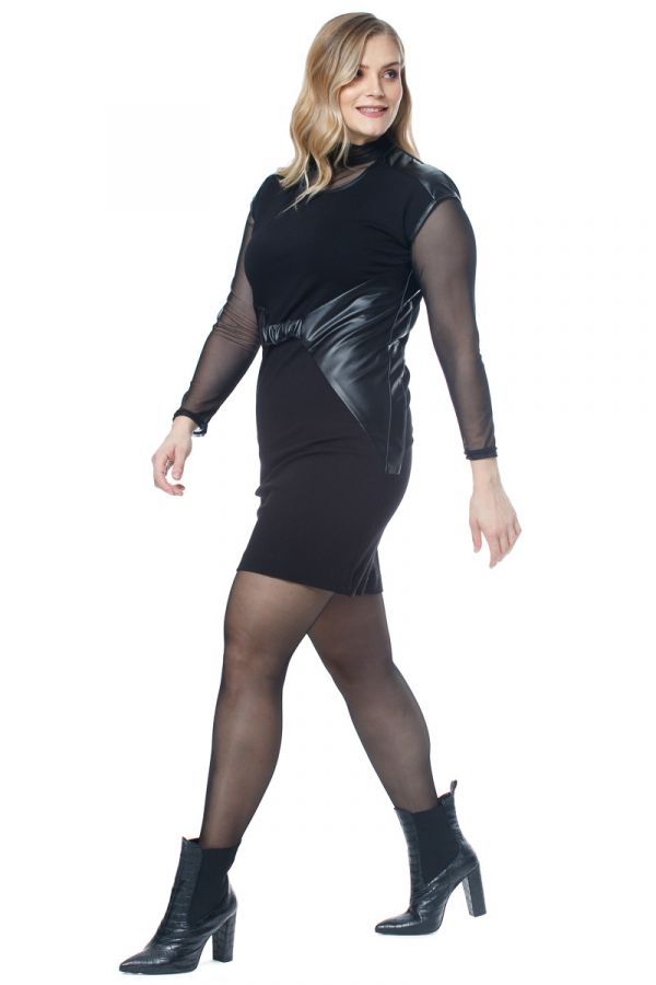 Mini short sleeve dress with leather-like details in black colour