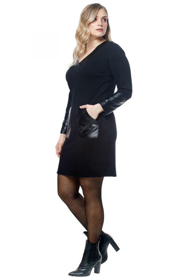 Mini v-neck dress with leather-like details in black colour