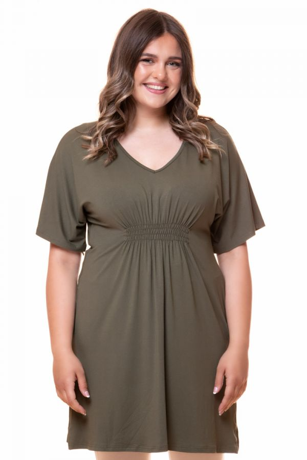 Shirred waist t-shirt dress in khaki colour