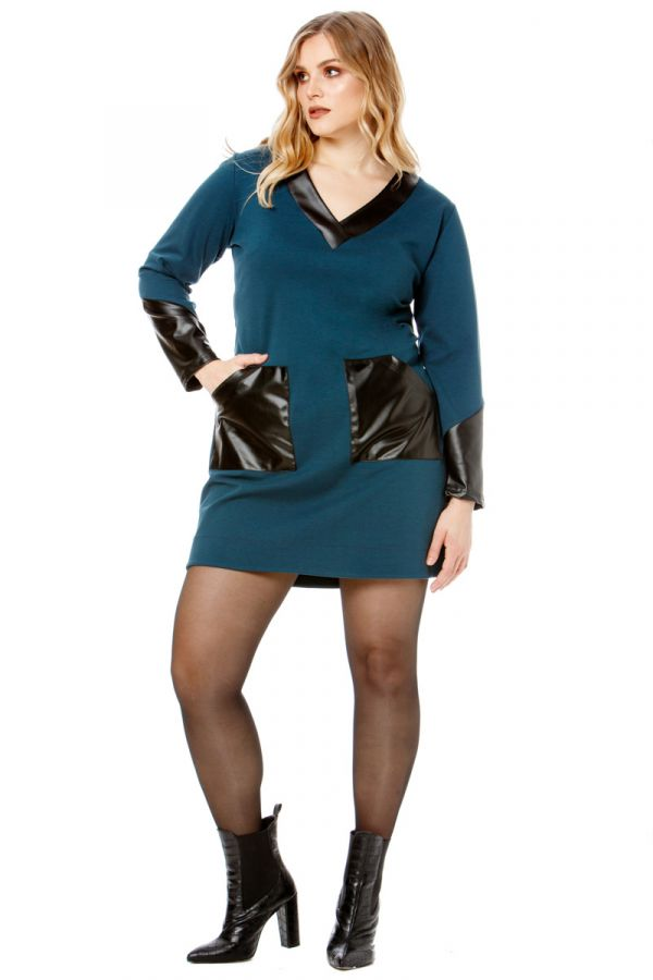 Mini v-neck dress with leather-like details in petrol colour
