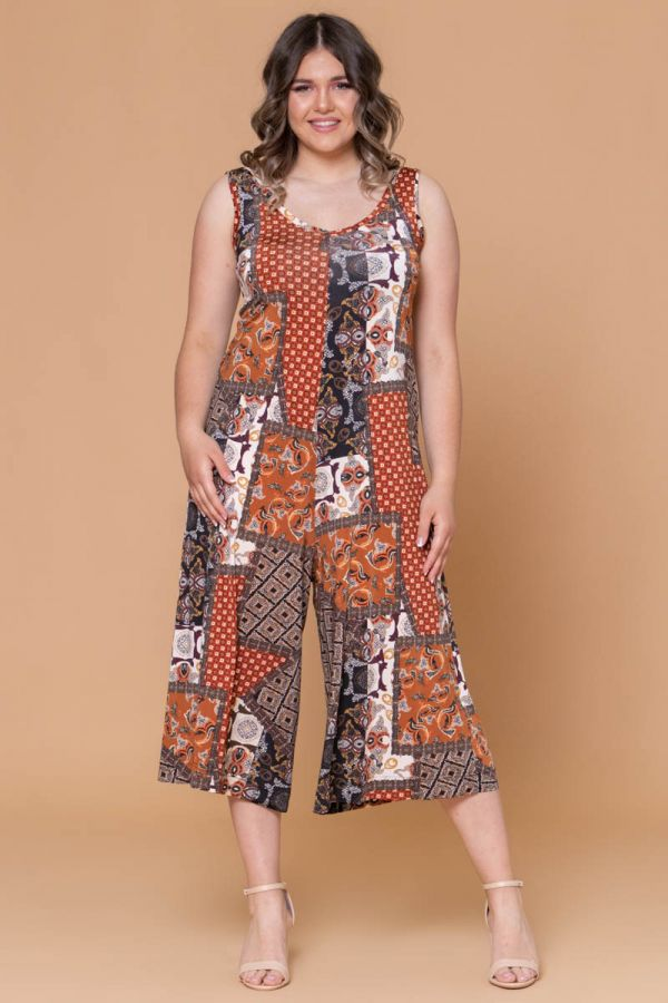 Midi patterned jumpsuit in rusty colour