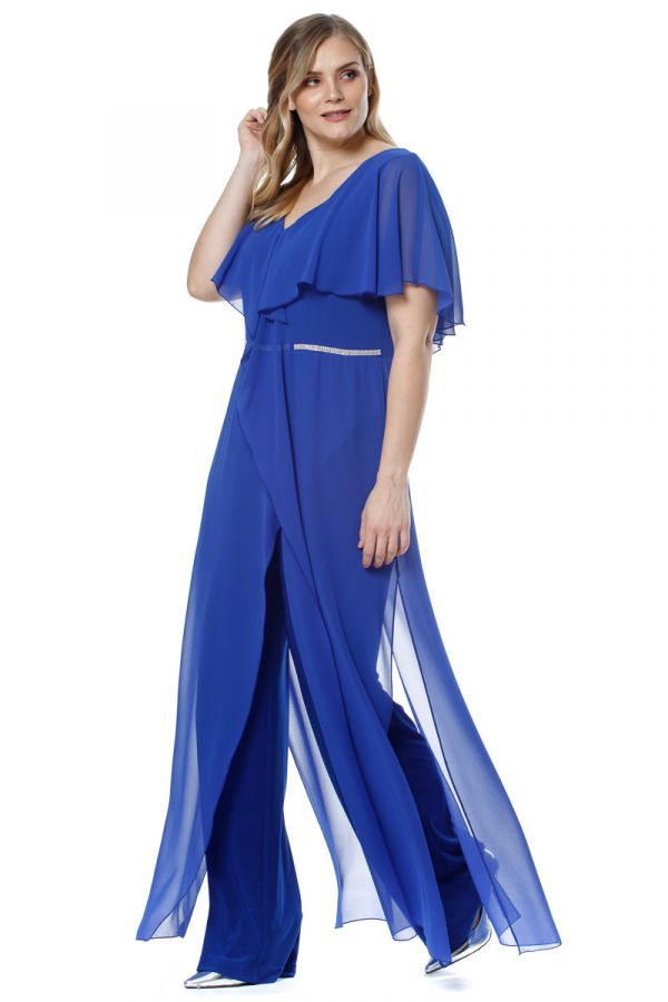 Layered embellished jumpsuit in royal blue colour