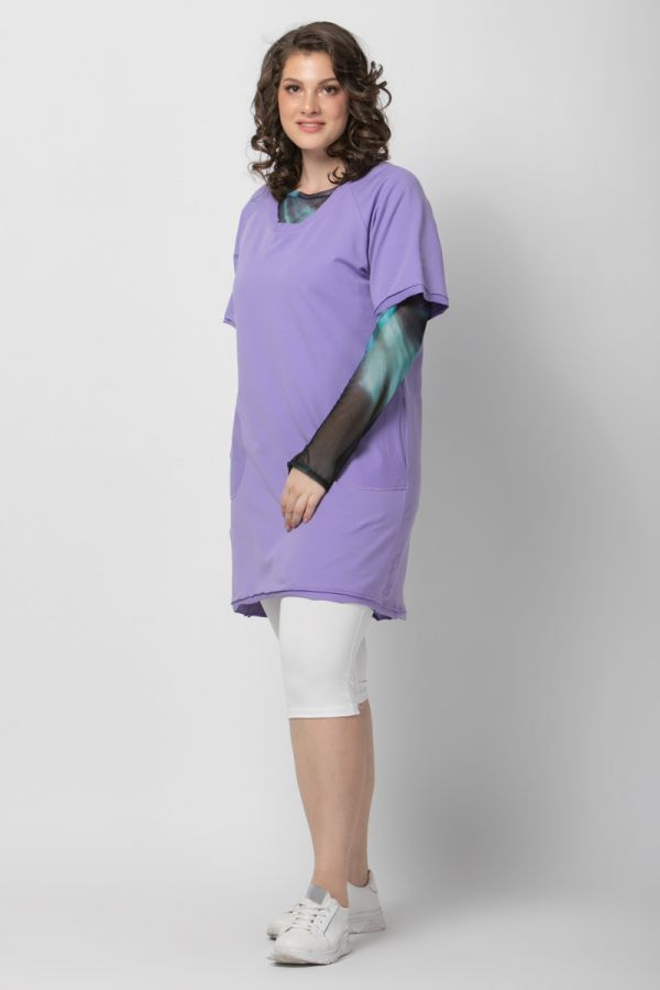 Frayed sweatshirt dress in lilac colour