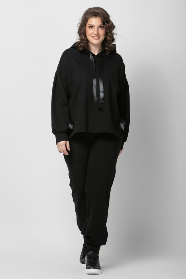 Sweatshirt with satin ribbons in black colour