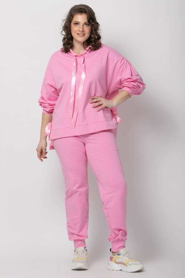 Sweatshirt with satin ribbons in pink colour
