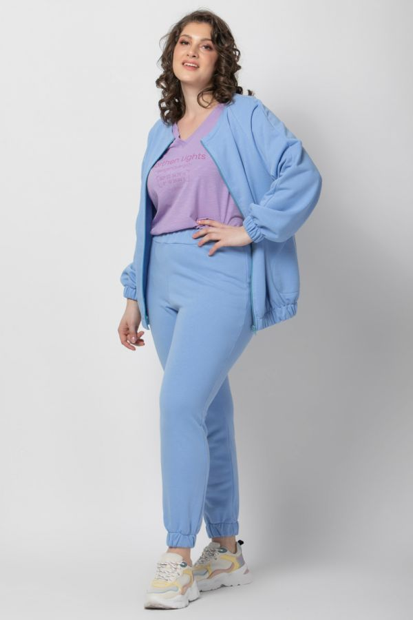 Zip through track top in light blue colour