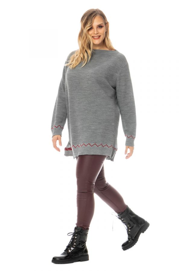 Knit jumper with zig-zag pattern in grey colour