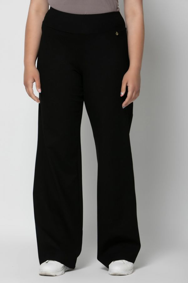 Heavy-weight wide leg elastic trousers in black colour