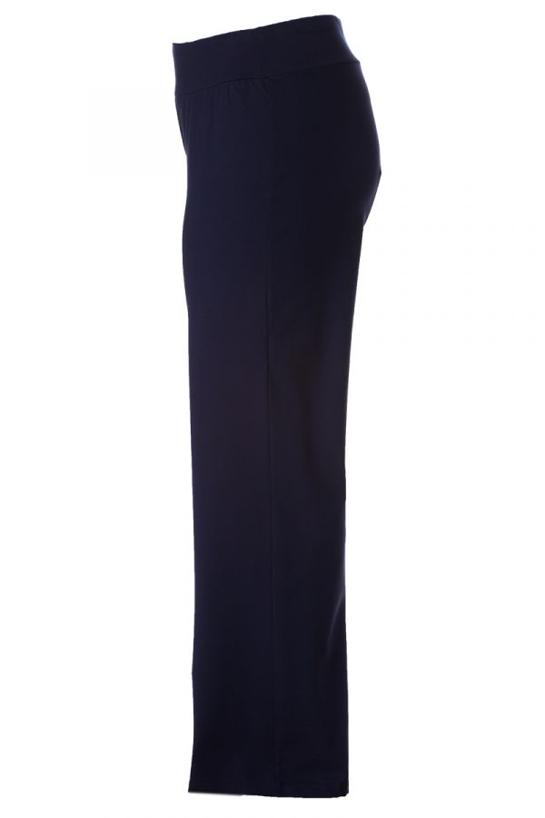Heavy-weight wide leg elastic trousers in blue colour
