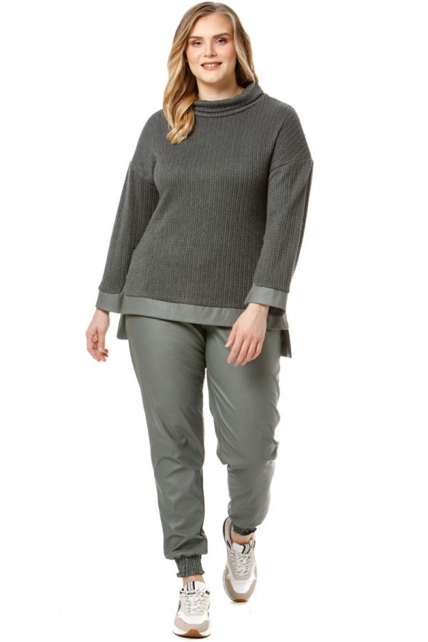 Hi-lo turtleneck jumper with leather-like details in dark gray colour