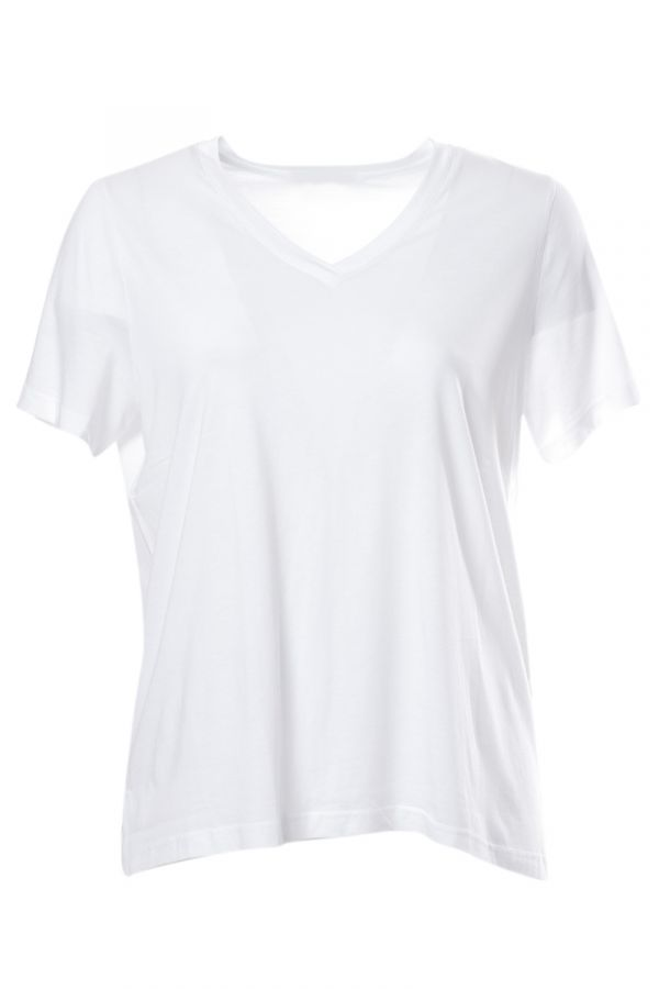 Short sleeve hi-lo light-weight t-shirt in white colour