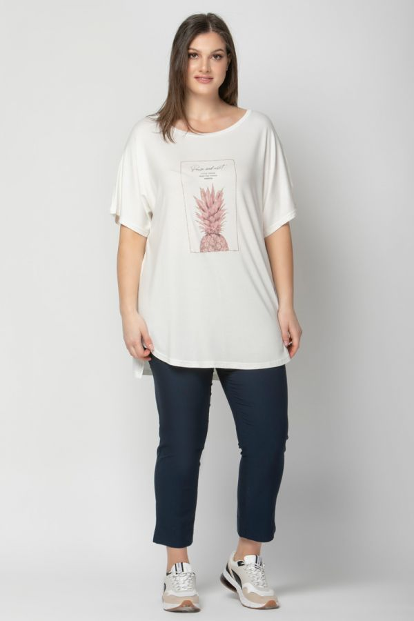 Hi-lo short sleeve top with pineapple print in ecru colour