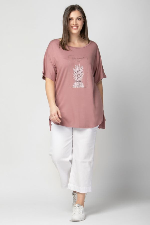 Hi-lo short sleeve top with pineapple print in pink colour