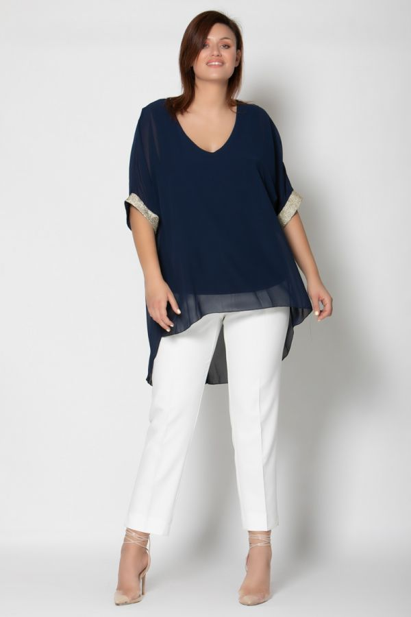Hi-Lo blouse with gold details in dark blue colour