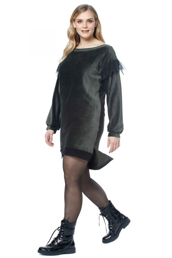 Hi-Lo velour sweatshirt dress with tulle details in olive colour