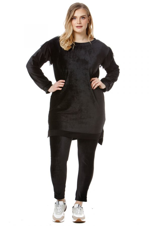 Hi-Lo velour sweatshirt dress with tulle details in black colour