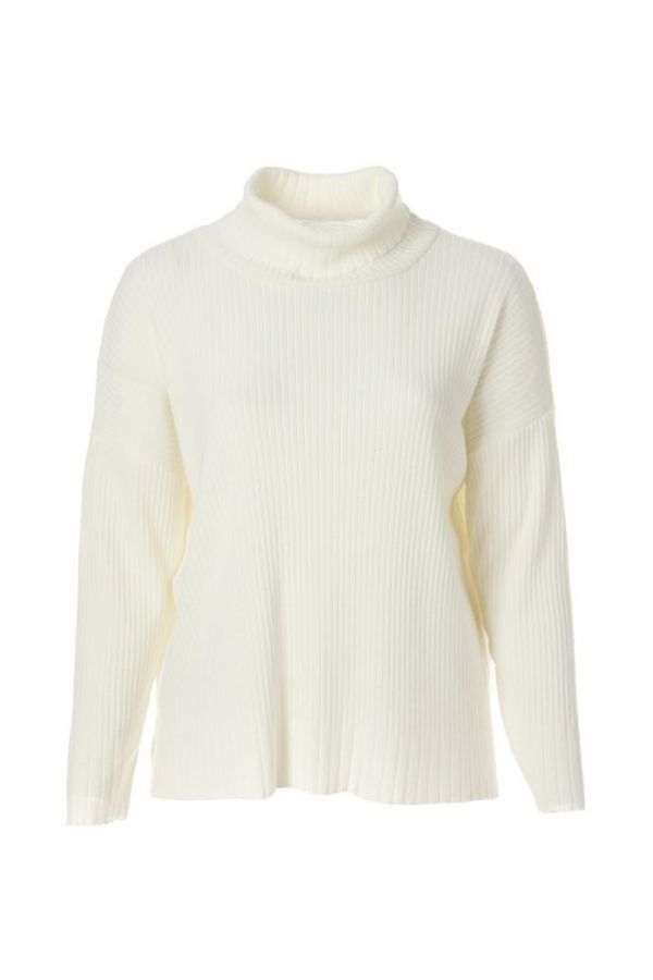 Hi-lo turtleneck knit rib jumper in ecru colour