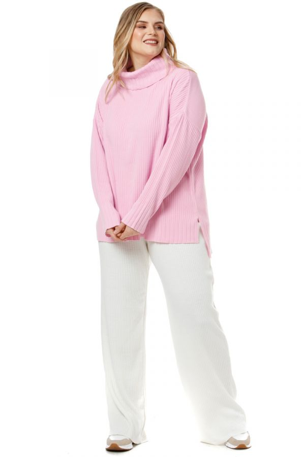 Hi-lo turtleneck knit rib jumper in pink colour