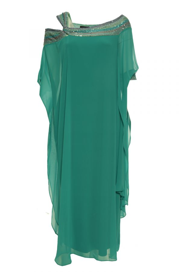 Maxi dress with sequin embellished neckline in veraman colour
