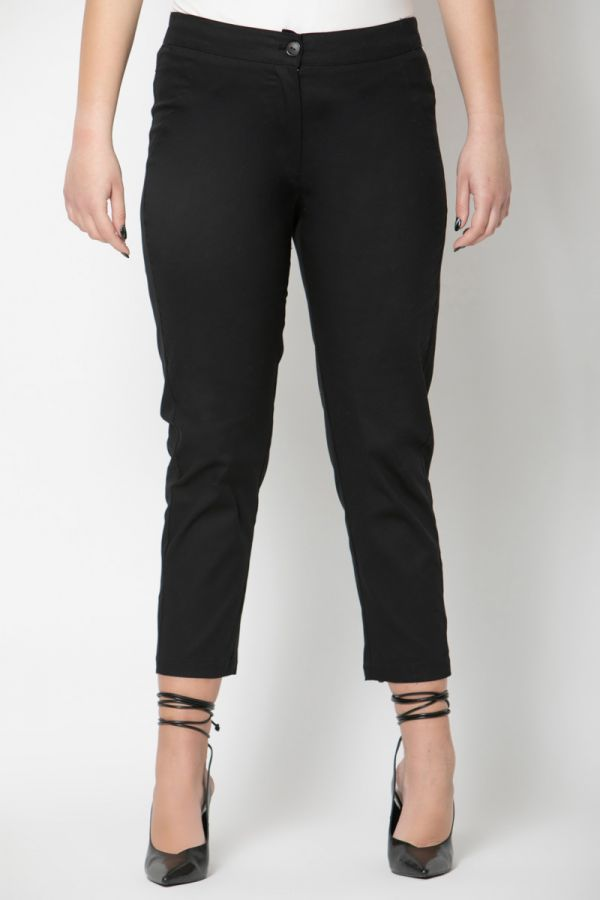 High-waisted cropped trousers in black colour