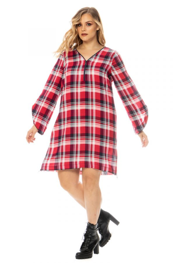 Half-zip check dress in red colour