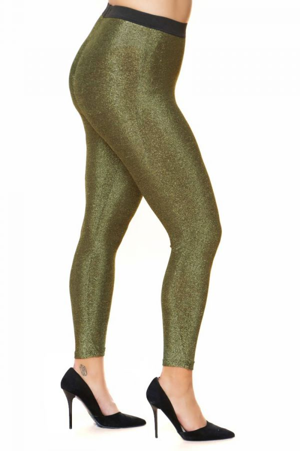Cropped lurex leggings in gold colour