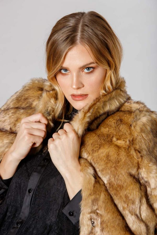 Faux fur coat with mao collar in brown colour