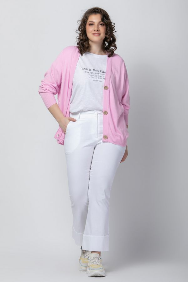 Short knit cardigan with buttons in pink colour