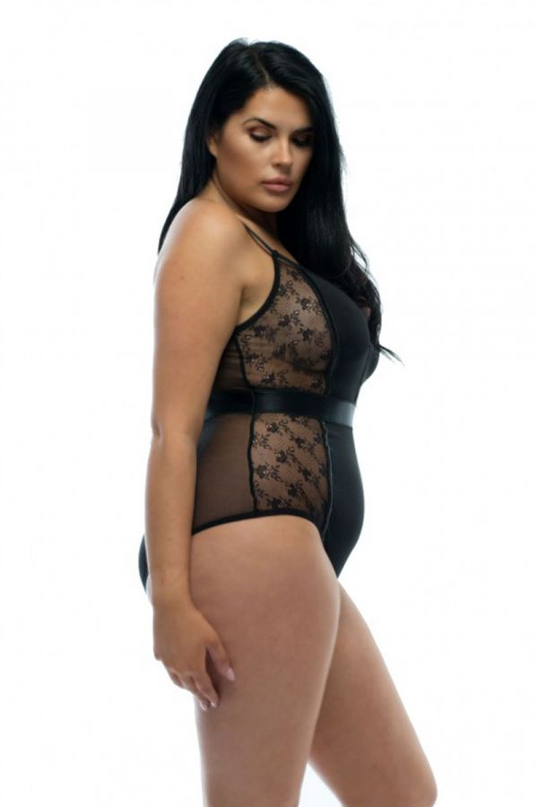 Bodysuit with lace and zip in black colour
