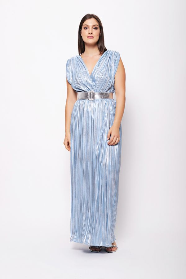 Wrap style shimmer dress with belt in light blue colour