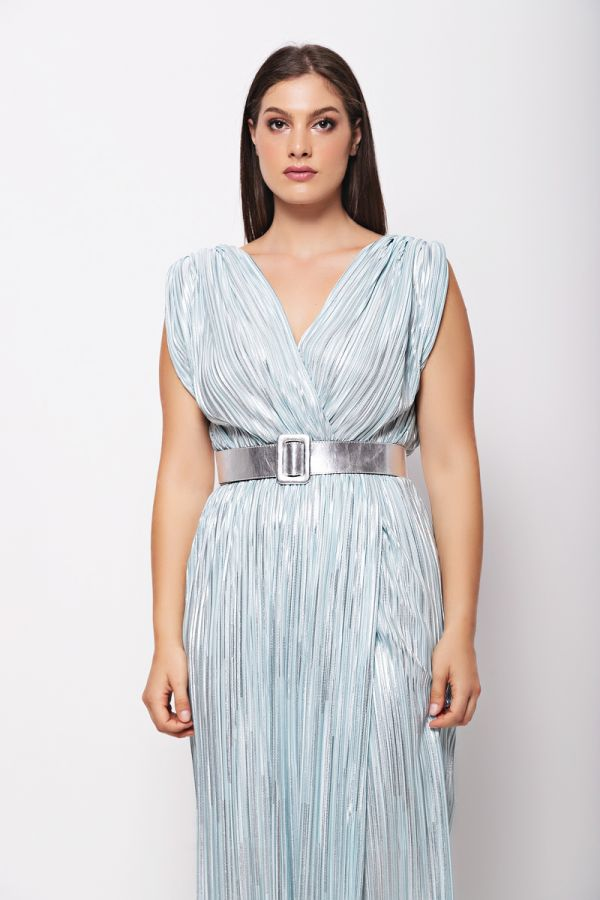 Wrap style shimmer dress with belt in mint colour