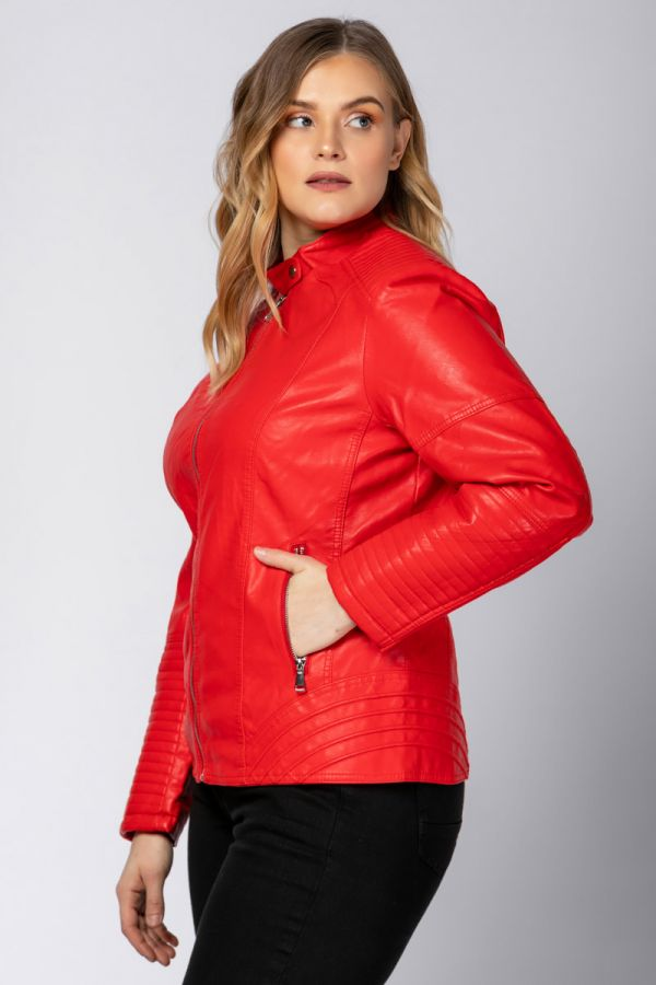 Leather-like jacket with mao collar in red colour