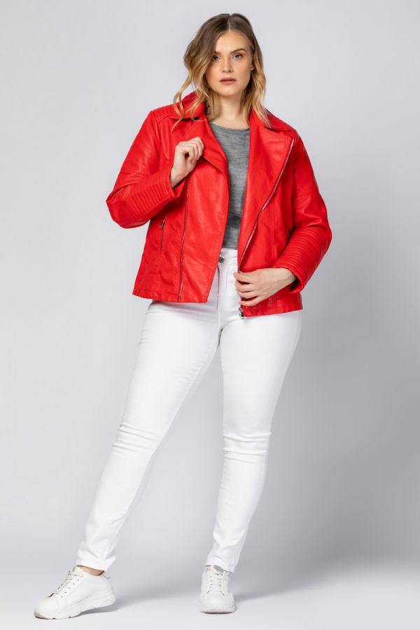 Leather-like jacket perfecto style in red colour