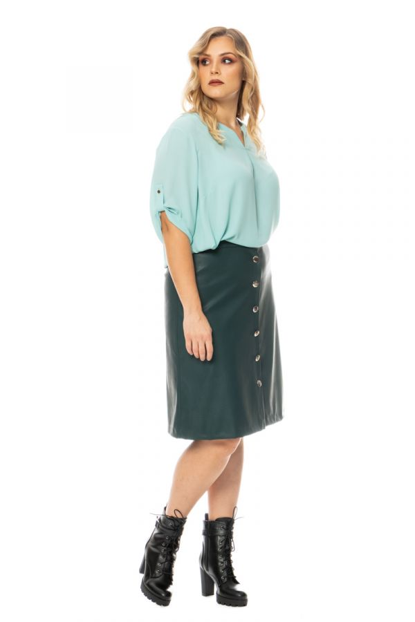 Leather-like midi skirt in green colour