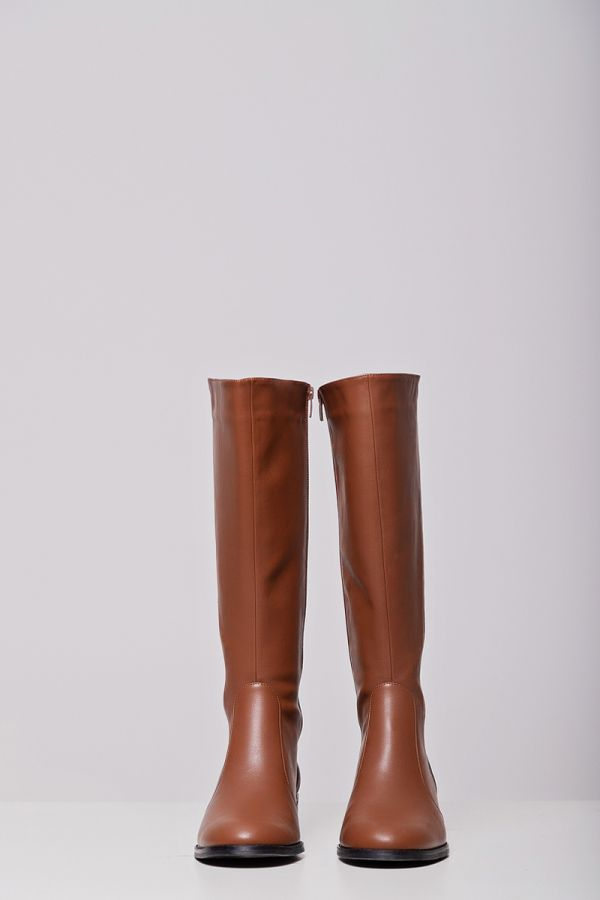Leather-like wide calf knee-high boots in chocolate colour