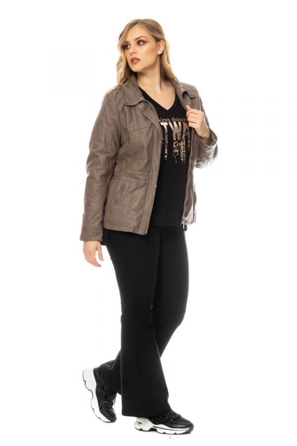 Leather-like jacket with faux-fur collar in stone colour