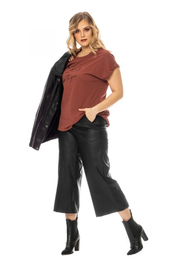 Leather-like culotte trousers in black colour
